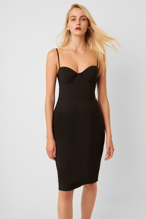 freya glass stretch bodycon bustier dress