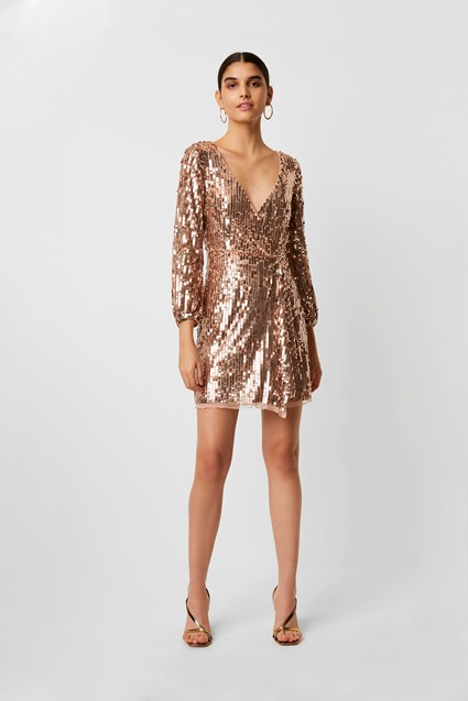 Elli Sequin Long Sleeve Dress