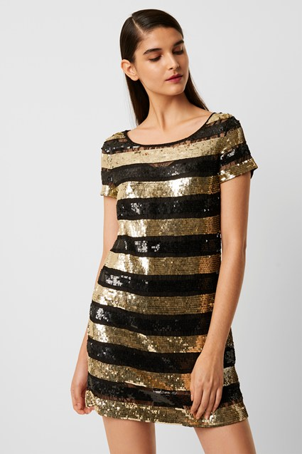 Anni Sequin Stripe T Shirt Dress by French Connection