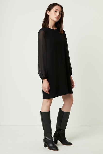 Aada Crepe Shirred Sleeve Shift Dress
