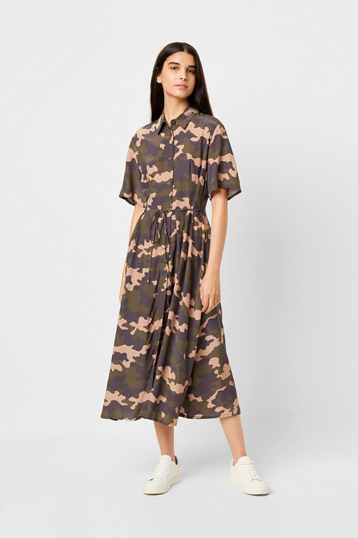 carri drape camo midi dress
