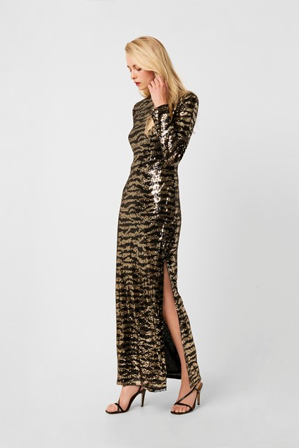 Ebba Tiger Sequin Maxi Split Dress
