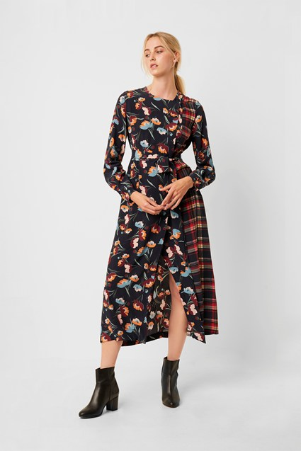 Anneli Drape Tie Mix Print Wrap Dress