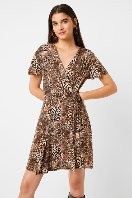 Leopard Print Jersey Wrap Dress