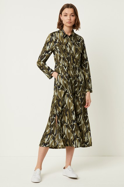 Camo Long Sleeve Midi Shirt Dress