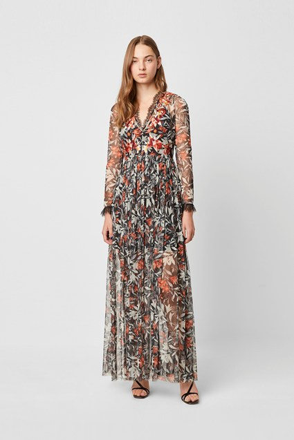Flori Embroidered Neck Floral Maxi Dress