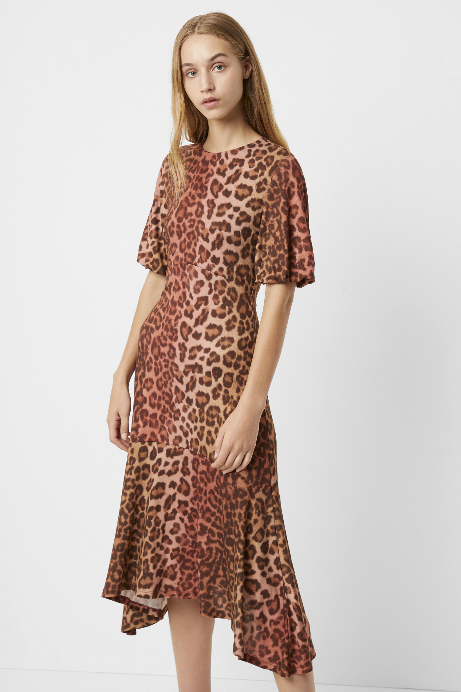 3 Colours Leopard Print Made in Italy Midi Length Dress