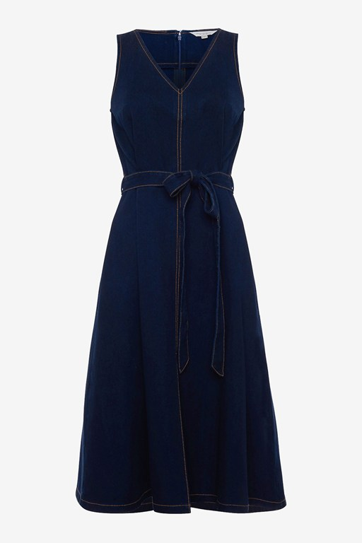 Complete the Look Pulika Chambray V Neck Belted Denim Dress
