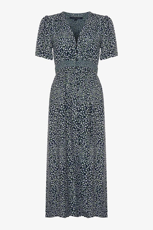 cade drape buttoned front printed dress