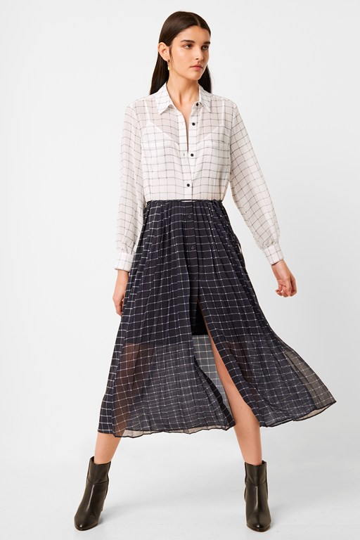 ayn drape belted mixed check shirt dress