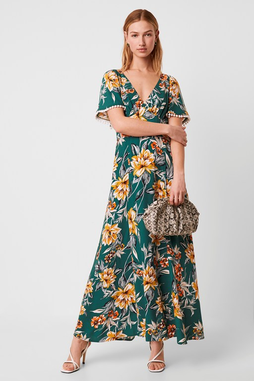 claribel floral v neck maxi dress