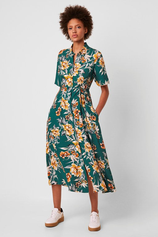 claribel floral midi shirt dress