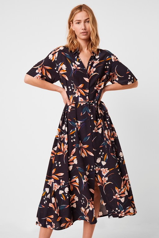 elvia floral print shirt dress