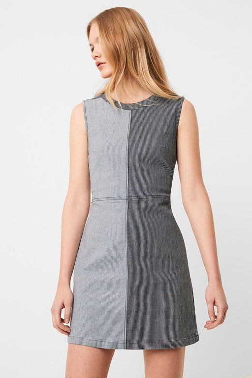 zina stripe denim shift dress