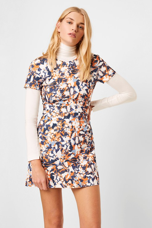 enid stretch print fit and flare dress