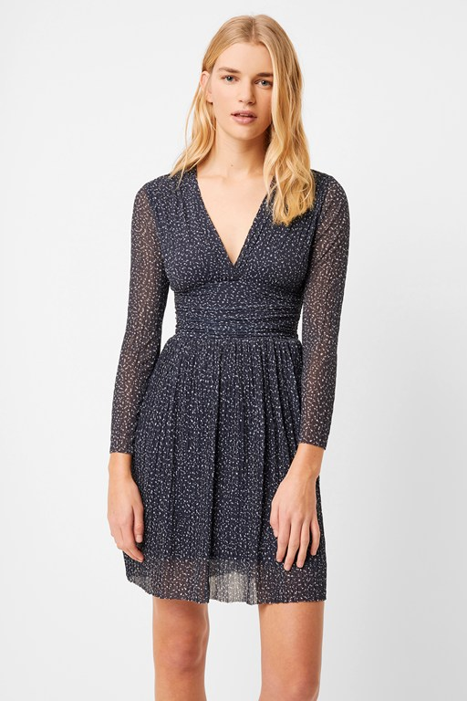 tabia pleated printed jersey v neck dress