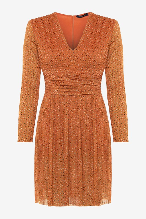 Complete the Look Tabia Pleated Jersey V Neck Dress