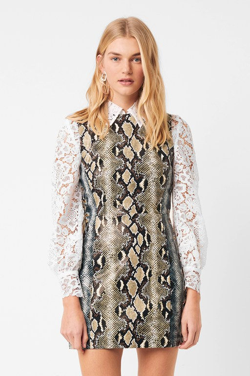 adila pu faux snake shift dress