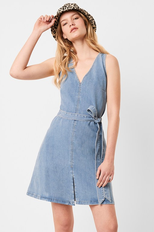 pulika chambray v neck belted short denim dress
