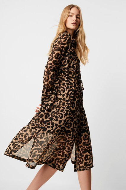 Animal Georgette Midi Shirt Dress
