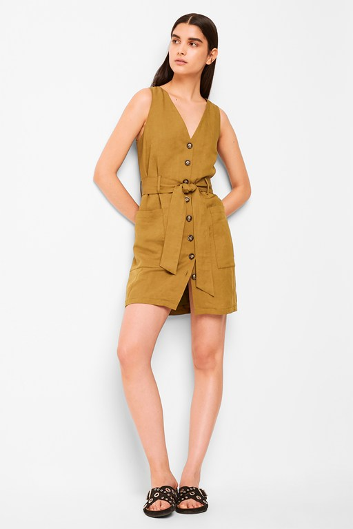 yester linen button front sleeveless dress