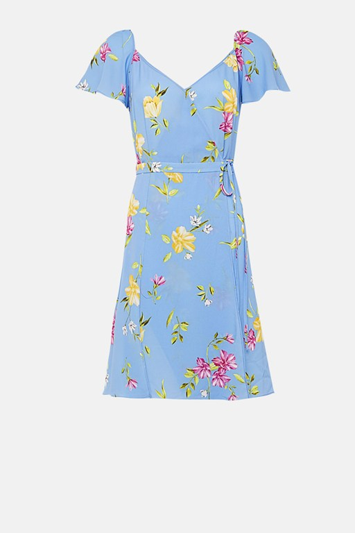 eme crepe faux wrap dress