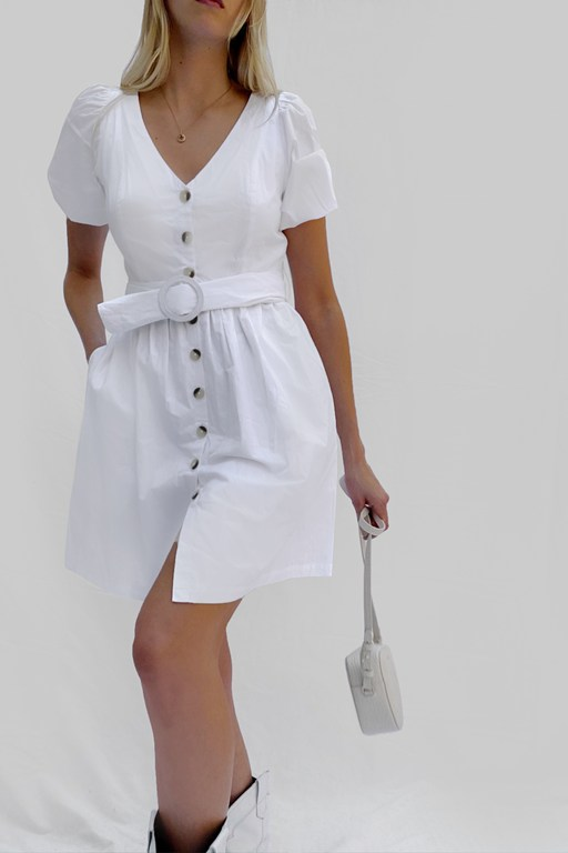 besima poplin button through belted dress