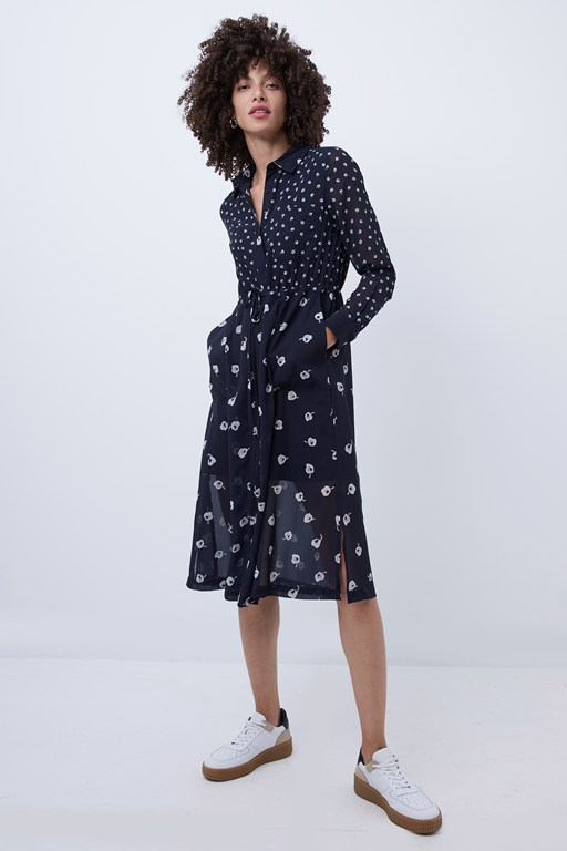 adelise spot print midi shirt dress