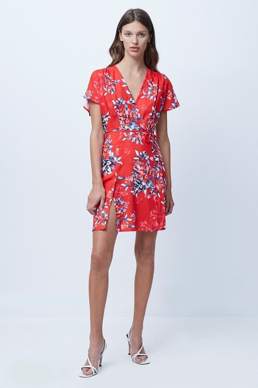 coletta crepe short sleeve dress