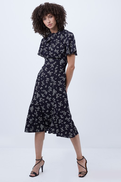 ansa bruna crepe twist neck dress