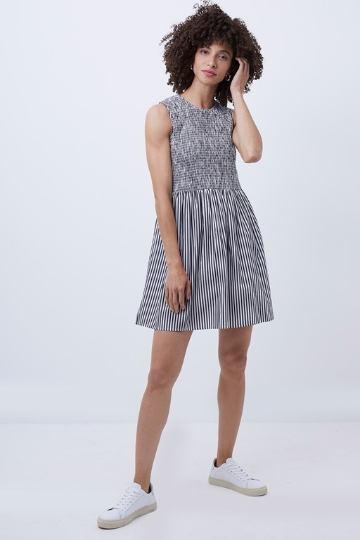 serge stripe sleeveless shirring dress