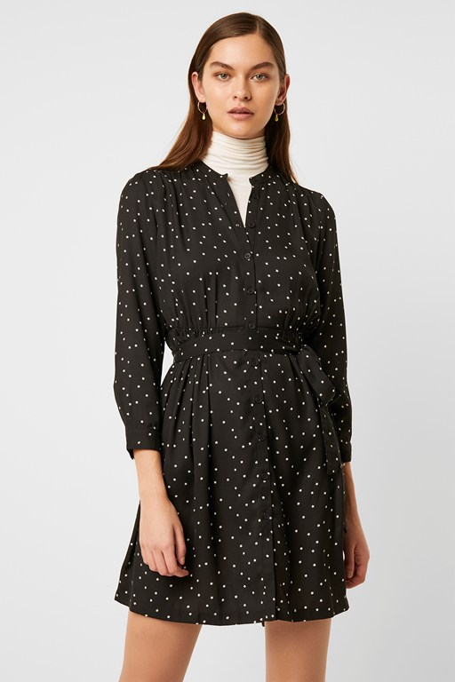 star print belted shirt dress