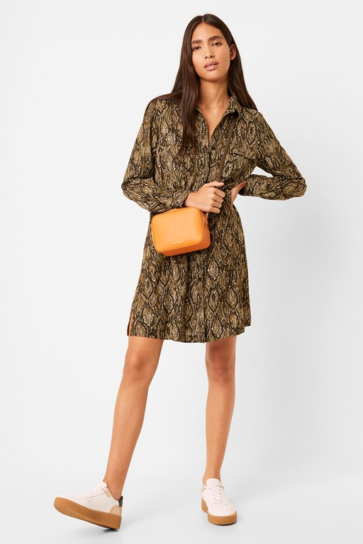 green lizard shirt dress