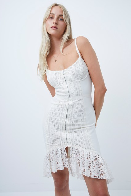 Iva Whisper Lace Mix Fitted Dress