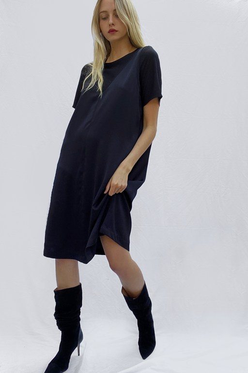 zoewe crepe mix layered dress