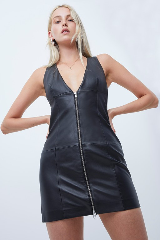 apolinia leather mini dress