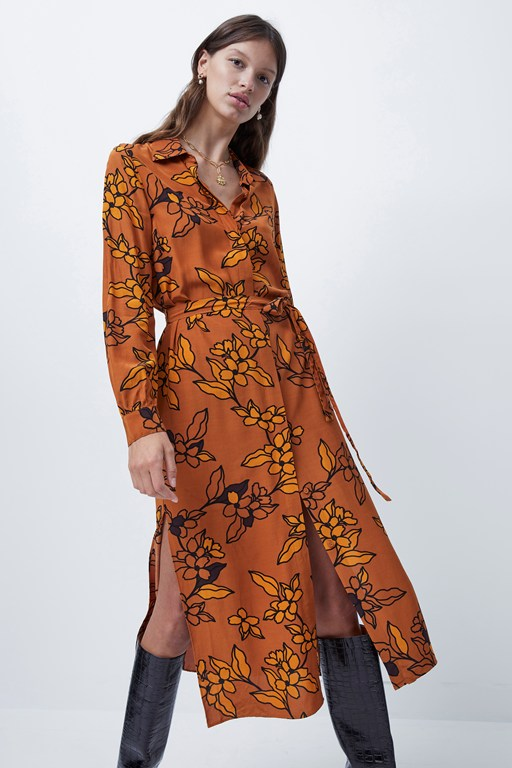 Complete the Look Cefara Drape Printed Shirt Dress
