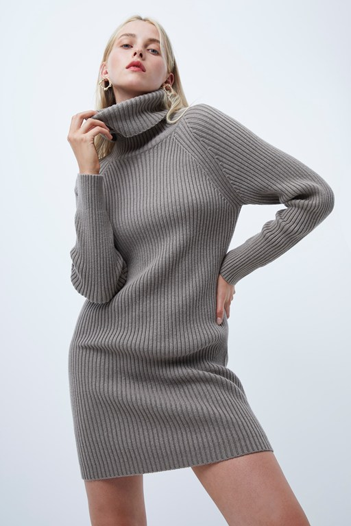 katerina knits roll neck dress