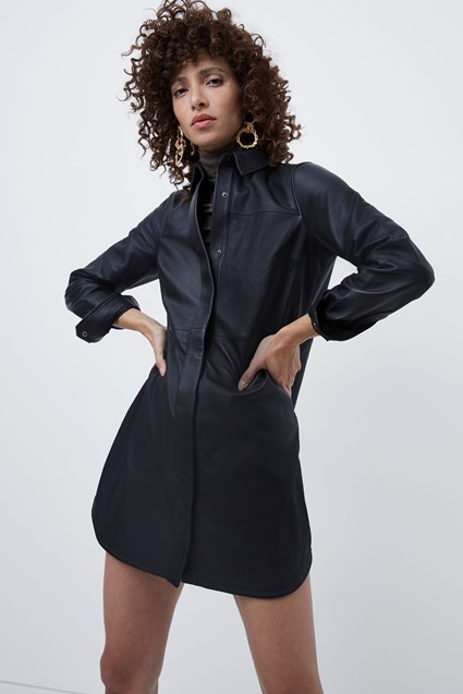 Patti Leather Belted Shirt Dress