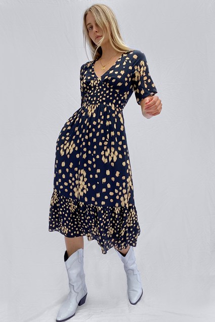 Geriel Drop Printed Midi Tea Dress