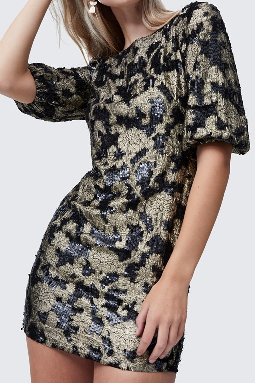 alma jacquard sequin mini dress