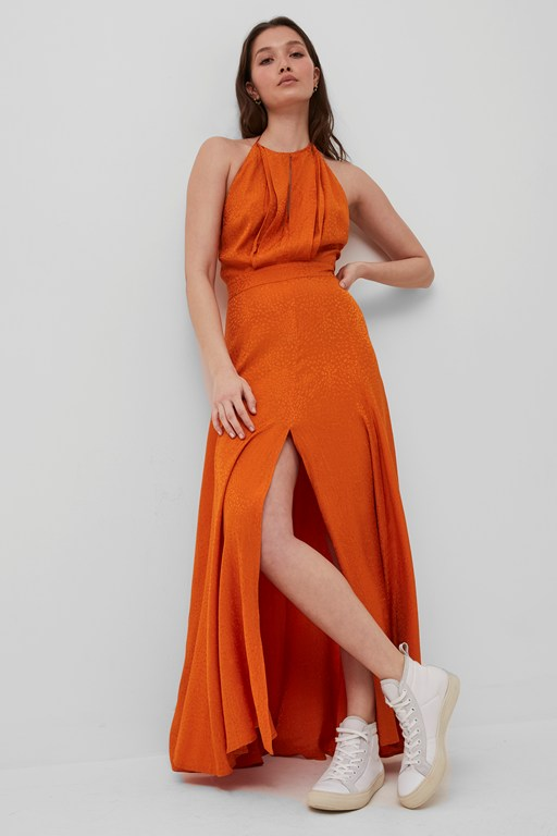 dua drape keyhole maxi dress