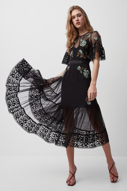 Ambre Embroidered Floral Midi Dress