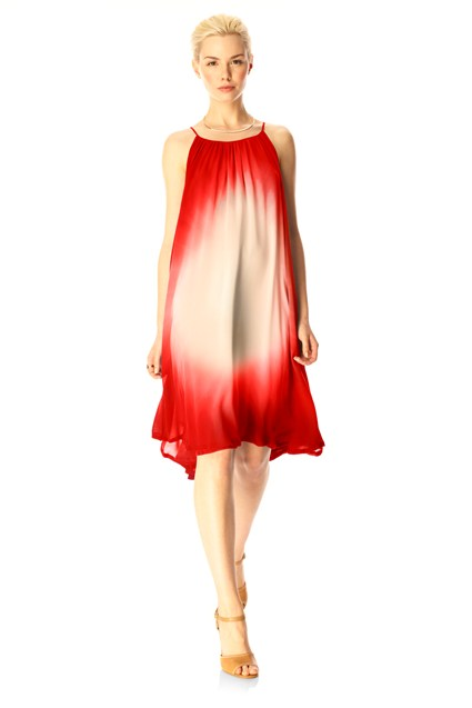 Silk Halter Dress Red
