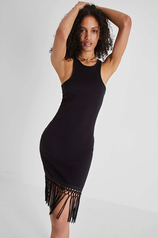 sol fringe bodycon halter neck dress