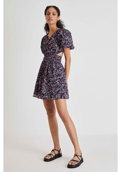 Flores Cotton V Neck Mini Dress