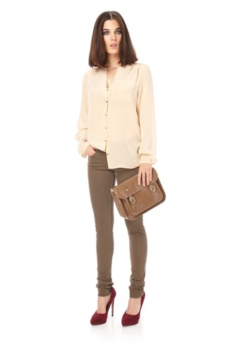 Winter Silk Collarless Shirt
