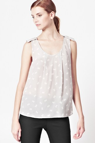 Snow Bow Silk Top