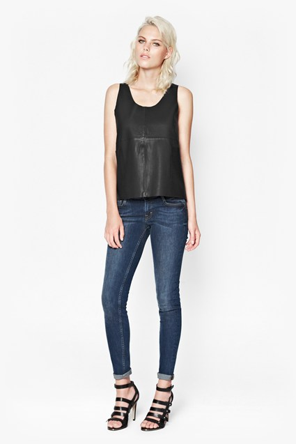 Jet Leather Vest Top