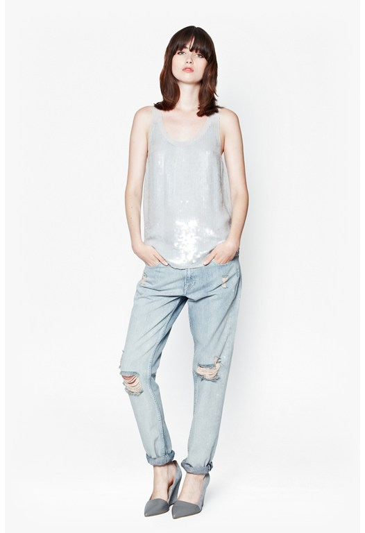 Winter Mist Sequinned Vest Top
